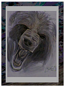 Growling Painting Prints - Okwari Print by Kerdy Mitcho