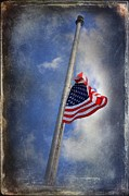 Flag Pole Digital Art - Ol Glory At Half Mast by The Stone Age
