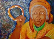 African American Paintings - Ol Woman by Kenji Tanner