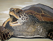 Hawaii Sea Turtle Paintings - Olala   Basking in the sun by Greg Guzman