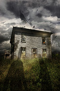 Halloween House Posters - Old ababdoned house with flying ghosts Poster by Sandra Cunningham