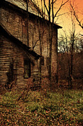 Decaying Prints - Old Abandoned Building with Creepy Sky Print by Jill Battaglia