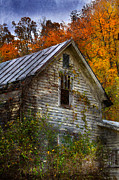 Clapboard House Prints - Old Abandoned House in Fall Print by Jill Battaglia