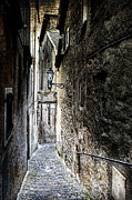 Street Lantern Framed Prints - old alley in Italy Framed Print by Joana Kruse