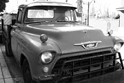 Chevy Trucks Posters - Old American Chevy Chevrolet Truck . 7D10669  . bw Poster by Wingsdomain Art and Photography