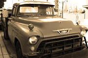 Chevy Trucks Posters - Old American Chevy Chevrolet Truck . 7D10669 . sepia Poster by Wingsdomain Art and Photography