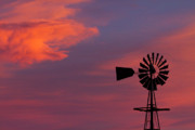 Sunset Greeting Cards Posters - Old American Farm Windmill with a Sunset  Poster by James Bo Insogna
