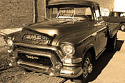 Sepia Photos Posters - Old American GMC Truck . 7D10665 . sepia Poster by Wingsdomain Art and Photography