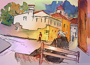 Townscape Drawings Framed Prints - Old and Lonely in Portugal 07 Framed Print by Miki De Goodaboom