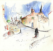 Travel Sketch Prints - Old and Lonely in Spain 02 Print by Miki De Goodaboom