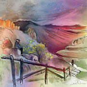 Travel Sketch Prints - Old and Lonely in Spain 04 Print by Miki De Goodaboom