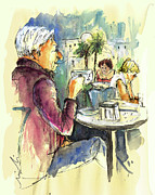 Coffee Drinking Drawings Prints - Old and Lonely in Spain 09 Print by Miki De Goodaboom