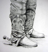 Western Pencil Drawing Prints - Old and Wrinkled Print by Suzy Pal Powell