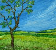 Rural Living Painting Posters - Old Apple Tree Poster by Anna Folkartanna Maciejewska-Dyba
