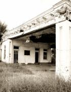 Overhang Metal Prints - Old Art Deco Filling Station Metal Print by Marilyn Hunt