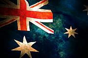 Aussie Framed Prints - Old Australian Flag Framed Print by Phill Petrovic