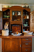 Butter Molds Photos - Old Bakers Cabinet by Carmen Del Valle