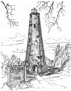 Lighthouse Drawings - Old Baldy by Barney Hedrick