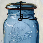Linda Apple Photo Prints - Old Ball Jar -oil painting Print by Linda Apple