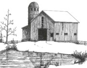 Old Barn Drawings - Old Barn 1 by BJ Shine