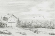 Old Shed Drawings - Old Barn 2 by BJ Shine