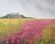 Old Barn Pastels - Old Barn and Red Clover by Christine Kane