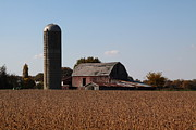 Harvest Time Posters - Old barn and Silo Poster by Jim Vansant