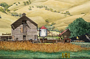 Old Barn Paintings - Old Barn at Black Diamonds Park by Andre Salvador
