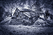 Silver And Black Prints - Old Barn Print by Donald Schwartz