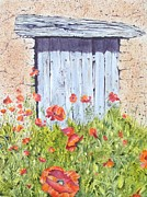 French Door Paintings - Old Barn Door by Frances Evans