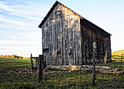 Old Fence Posts Prints - Old Barn in Fall West Virginia Print by Kathleen K Parker