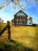 Rundown Barn Posters - Old Barn in Springtime Poster by Jill Battaglia