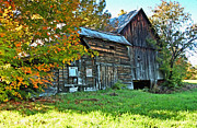 Fall Colors Digital Art Originals - Old Barn In Vermont by James Steele
