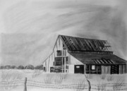 Old Barn Drawings - Old Barn by Jeff Noble