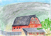 Old Barn Drawings - Old Barn by John Hoppy Hopkins