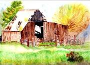 Old Barn Paintings - Old Barn by Judy Vaeth