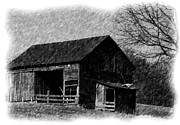 Barn Drawings Posters - Old Barn Poster by Karen Harrison