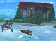 Old Barn Paintings - Old Barn by Susan Snow Voidets