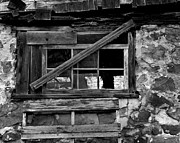 Pallet Framed Prints - Old Barn Window Framed Print by Perry Webster