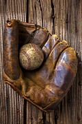 Plaything Metal Prints - Old baseball mitt and ball Metal Print by Garry Gay