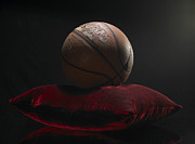 Old Objects Prints - Old Basketball On Velvet Cushion Print by Phil Ashley