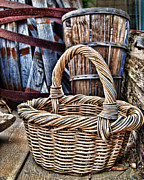 Wicker Baskets Prints - Old Baskets Print by Norma Warden