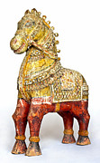 Antiquated Prints - Old Battered Crafted Wooden Horse Print by Kantilal Patel