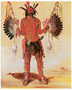 American Painters Framed Prints - Old Bear A Medicine Man Framed Print by George Catlin