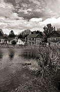 Log Cabins Prints - Old Bedford Village Pennsylvania_monochrome Print by Kathleen K Parker