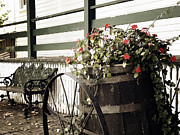 Country Scene Photos - Old Bench and Barrel by Julie Palencia