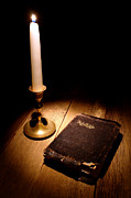 Christian Sacred Metal Prints - Old Bible and Candle Metal Print by Olivier Le Queinec