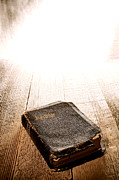 Christian Sacred Photo Metal Prints - Old Bible in Divine Light Metal Print by Olivier Le Queinec