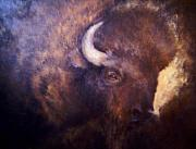 Buffalo Mixed Media Framed Prints - Old Bison Framed Print by Joann Shular