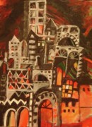 Old Iraqi City Paintings - Old Black City by Yahya Batat